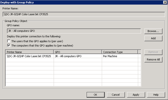 Deploying printers using Group Policy « blog powershell no