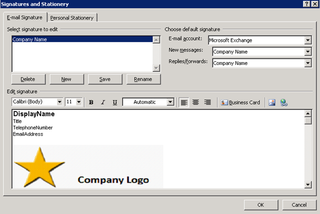 Outlook signature based on user information from active for Outlook 2010 signature template