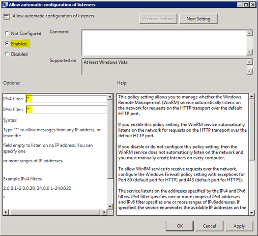 Enable and configure Windows PowerShell Remoting using Group