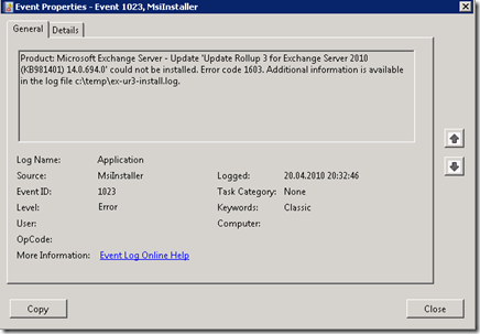 Installing Exchange Server 2007/2010 Update Rollups « blog